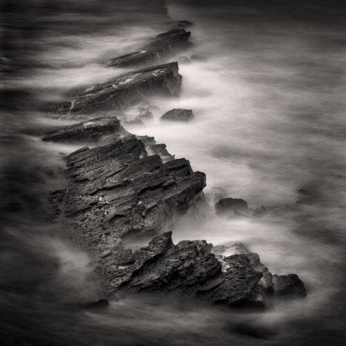 black and white seascape square print