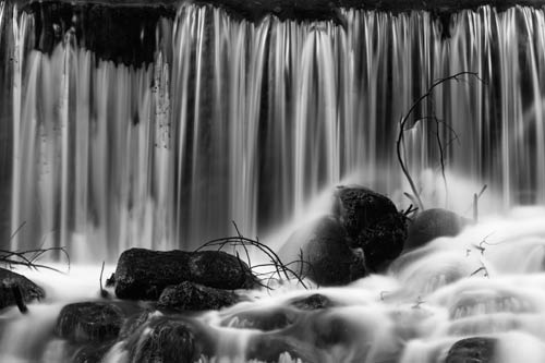 black and white waterfall print