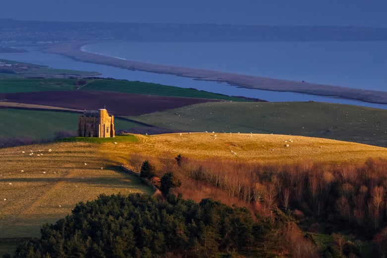 Evening light on St Catherine's Chapel, with the Fleet and Chesil Bank behind.Canon 1Ds Mark II, 70-200mm f/4L at 109mm, ISO 100, 1/5 second at f/11, polariser. © Mark Bauer