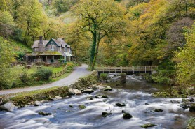Watersmeet House in Autumn, Exmoor National Park, Devon, England. © Adam Burton