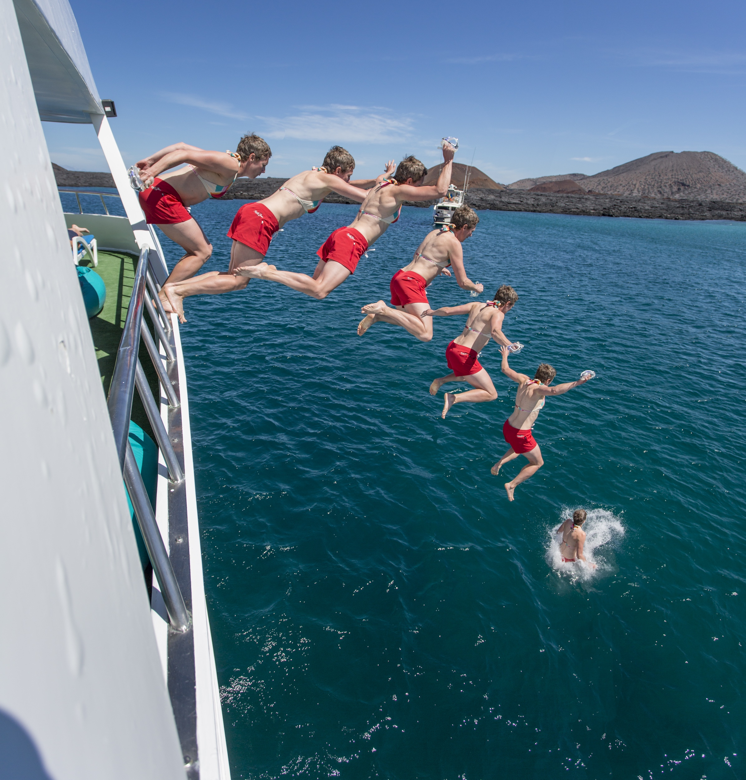 Lucy jumps from Guantanamera, the boat we called home for 8 days.