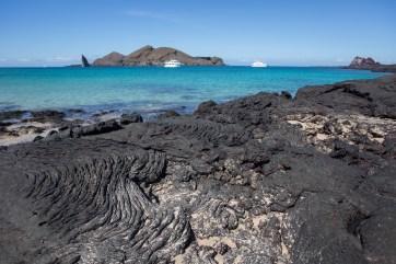 Lava and turquoise sea in Bartolome Island.
