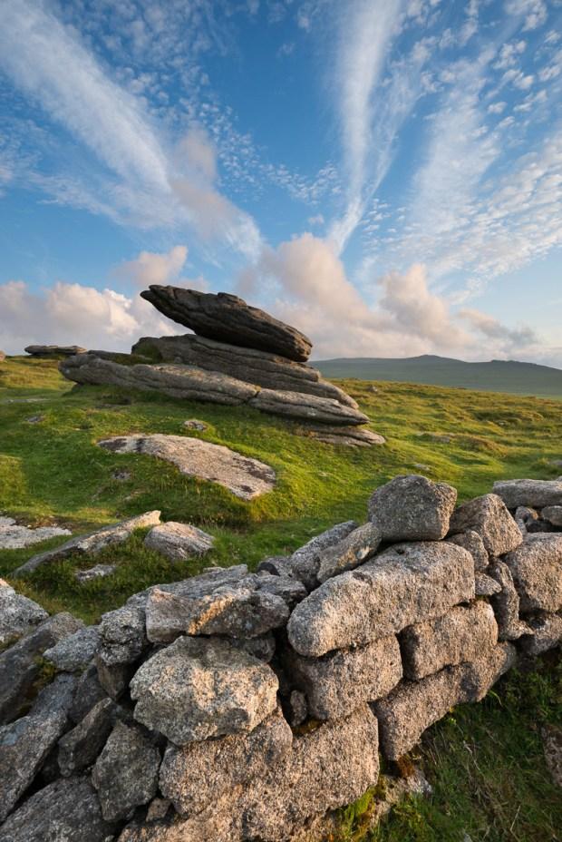 Summer at Irishman's Wall on Belstone Ridge, Dartmoor, Devon, England. Summer (June) 2012. © Adam Burton