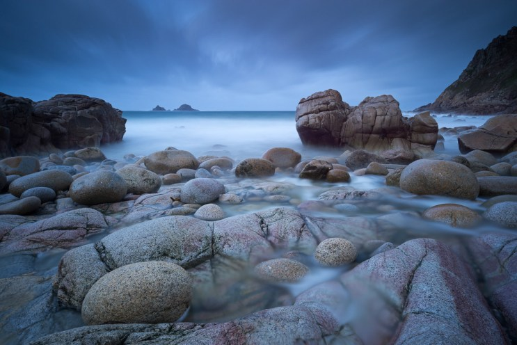 Stormy evening at Porth Nanven in Cornwall, England. Winter (December) 2012. © Adam Burton