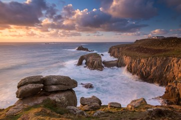 Dramatic coastal scenery at Land's End in Cornwall, England. Winter (February) 2015. © Adam Burton.