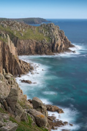 Dramatic Cornish cliff top scenery at Pordenack Point, Land's End, Cornwall, England. Autumn (September) 2015. © Adam Burton