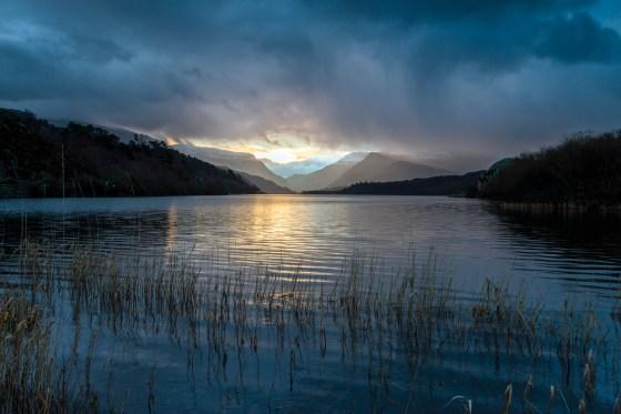 Moody winter sunrise on Llyn Padarn