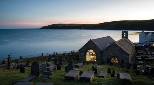 Late evening service at St Hywyn's, Aberdaron. Nikon D800, 16-35 at 30mm, 3 sec @ f/11, ISO 100, tripod. © Simon Kitchin