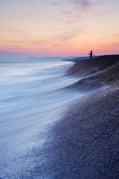 View west along Chesil Bank at sunset. Canon 1Ds mark II, 17- 40mm at 21mm, ISO 100, 3.2 seconds at f/22, LEE 0.6 hard grad. © Mark Bauer