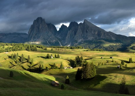 the mountains of the Dolomites in Italy at sunset