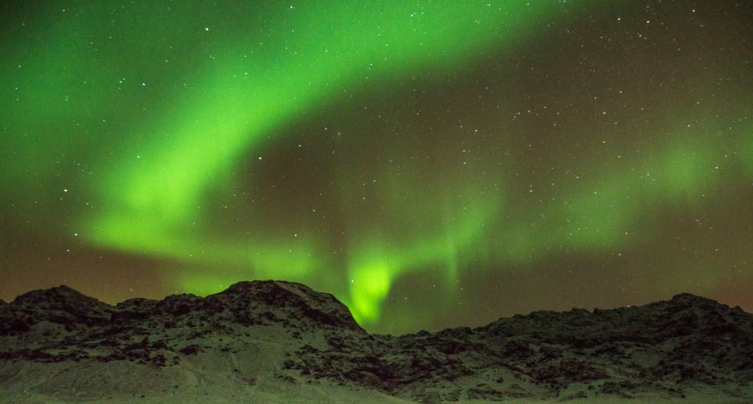 Aurora borealis at Kleifarvatn, a lake south west of Reykjavik.