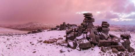 Staple Blush, Staple Tor, Dartmoor. Canon 6D, Canon EF 16-35 f/4 at 19mm (panorama), ISO 100, 1/4s at f/11, Tripod, January. © Richard Fox.
