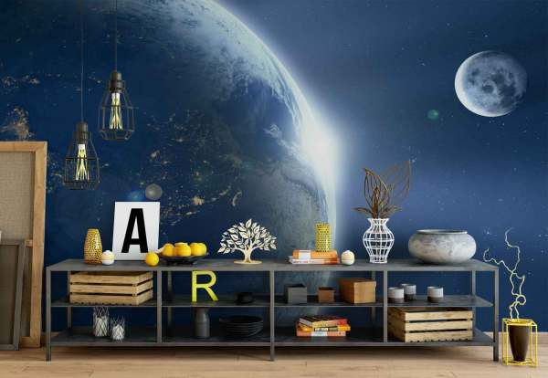 Planet Earth Moon Space Wallpaper Wall Mural Fw