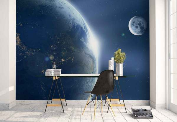 Earth From Moon Wall Mural Landscape