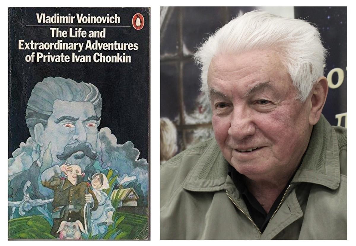 Photo of Vladimir Voinovich by Wikimedia Dmitry Rozhkov CC BY-SA 3.0 and cover by Penguin