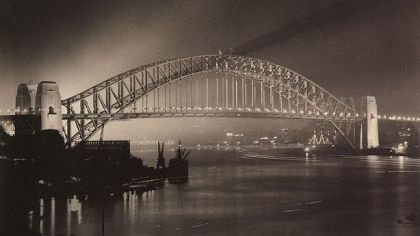 Sydney Harbour Bridge on Opening Night / Photo by Harold Cazneau, AGNSW, Gift of Rainbow Johnson, Robert Johnson and Sally Garrett