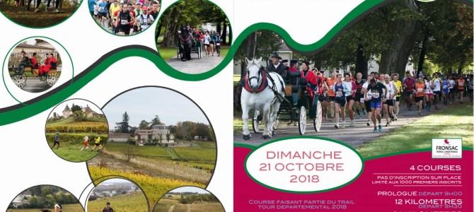 Inscriptions Trail de Fronsac du 21 Octobre 2018
