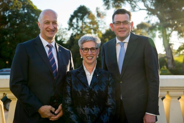 Paris Aristotle (left) pictured with Victorian Governor, Her Excellency the Hon Linda Dessau AM and Premier of Victoria Hon.Daniel Andrews.