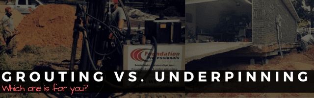 graphic showing push piers lifting a house foundation and an injection machine being used to fill a sinkhole reading: grouting vs. underpinning: which one is for you?