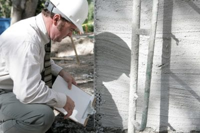 building inspector checking foundation