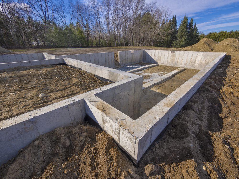 Basement foundation being built.
