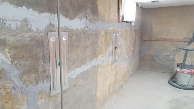 IntelliBrace Installed on Basement Wall
