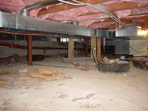 Crawl space with condensation problems and falling insulation.
