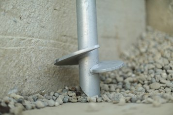 helical pier blade on concrete