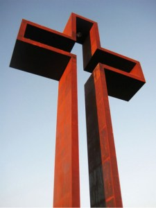 The Cross at Kerrville, a close-up of 77 feet of cor-ten steel glowing blood red in the setting sun (Credit: The Coming King Foundation)