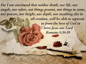 Happy Valentines Day card from God with Bible Scripture Romans 8:38-39 (Credit: VV via Fotolia)