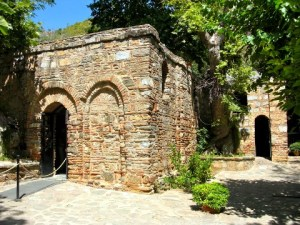 The exterior view of the restored house, which now serves as a chapel, of the Virgin Mary and the Apostle John, which sits on Mount Koressos, just outside of Ephesus, 4.3 miles from Selcuk, Turkey (Credit: Tacoma Traveler/Beth Willis/Linda Danforth/Michelle Merritt)