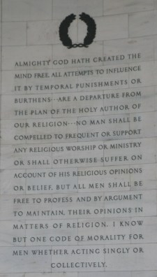 Jefferson Memorial, the panel of the northwest interior wall is an excerpt from A Bill for Establishing Religious Freedom, 1777, except for the last sentence, which is taken from a letter of August 28, 1789 to James Madison (Credit: Cliff1066 via Flickr)