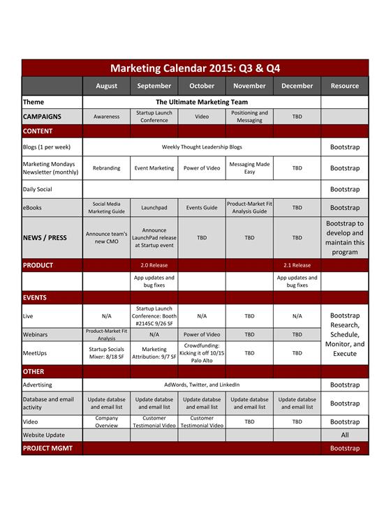 Marketing Calendar Bootstrap Marketing
