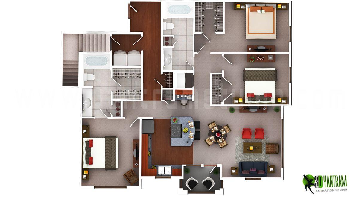 3D Luxury Floor Plans Design For Residential Home Yantramstudio