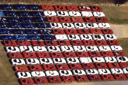 Corvettes lined up to resemble a U.S. Flag