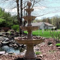 Large Tiered Outdoor Fountain with Ball Finial | Fiberglass