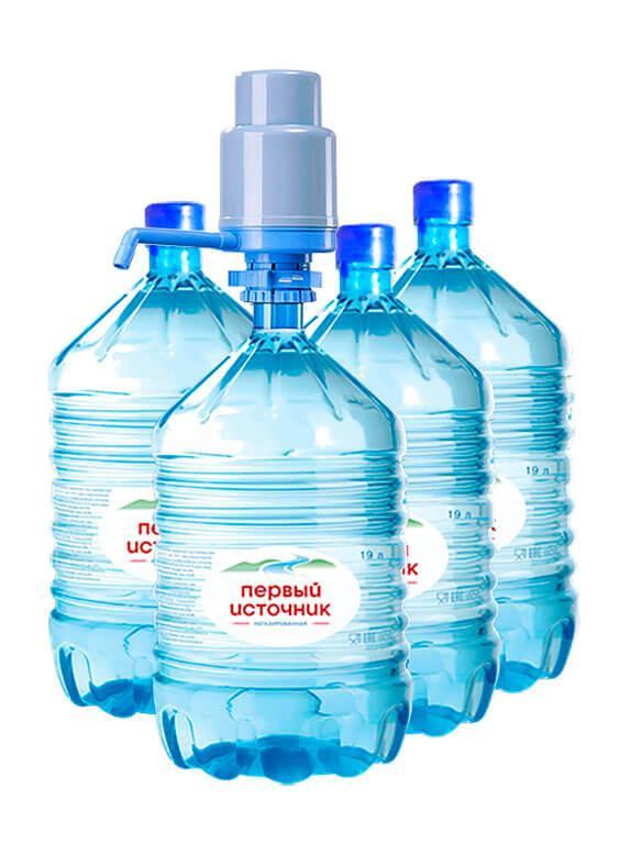 """4-е бутыли воды """"Первый Источник"""" в одноразовой таре и помпа"""