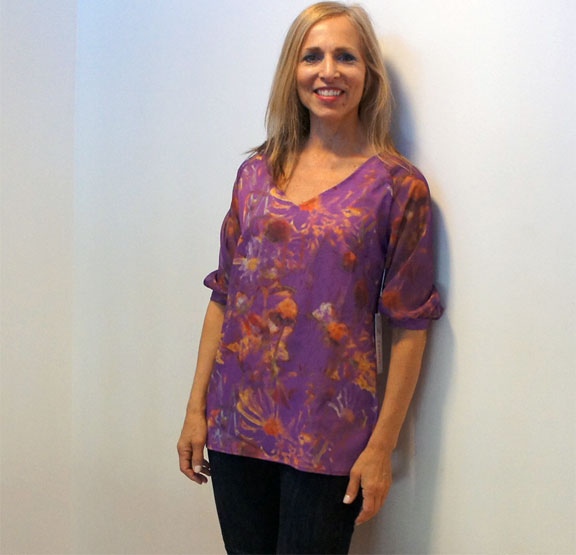 Zamrie, Custom Print Baseball Top, Purple Flora