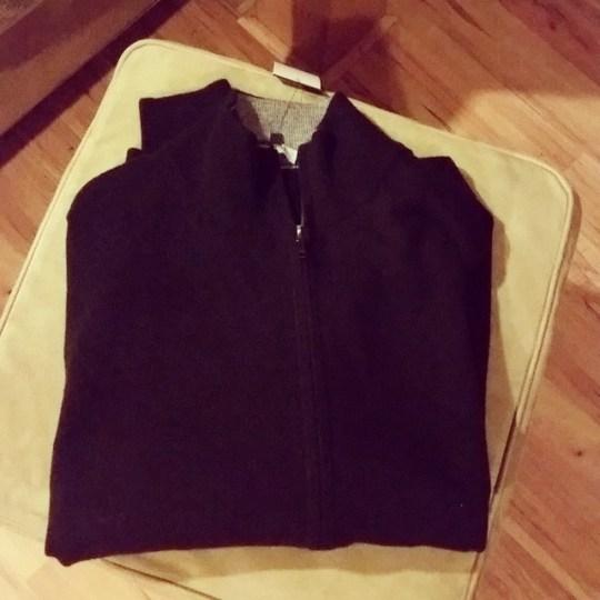 men's black cashmere zipper cardigan