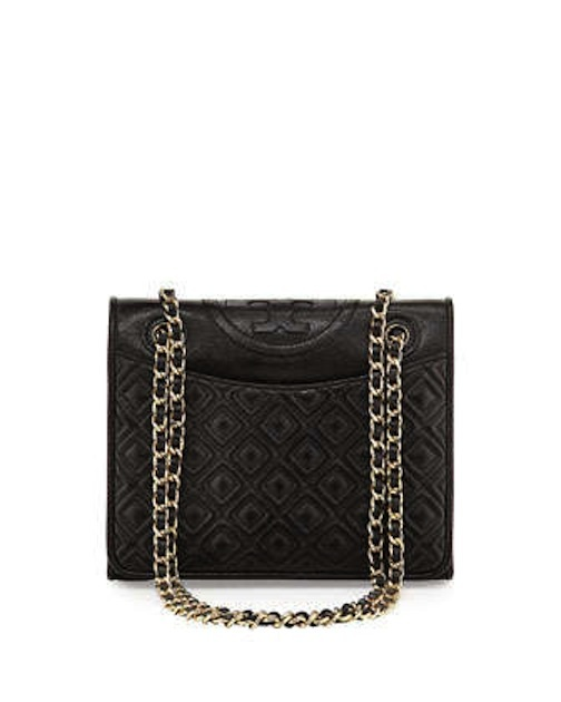 Tory Burch - Fleming Quilted Patent Saffiano Leather Flap Bag, Black - $465 - Cusp