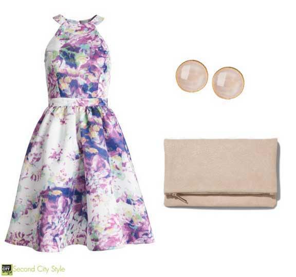 Parker Dress, Earrings, Clutch Bag