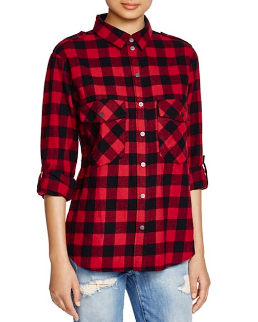 Sanctuary, red and black, Plaid Flannel Shirt