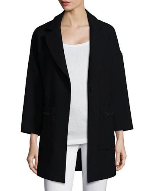 Milly - Nikki Single-Button Wool-Blend Coat, Black - $735 - Neiman Marcus