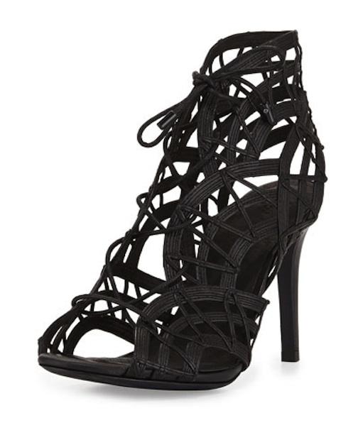 Joie - Leah Lattice Lace-Up Sandal, Black - $375