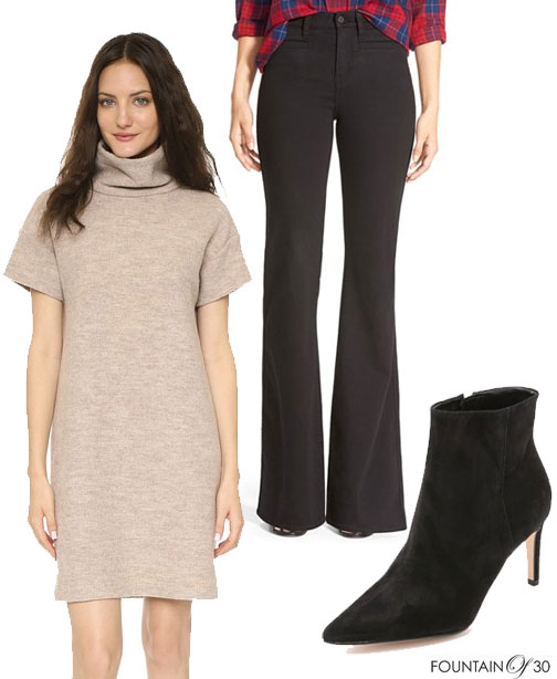 Casual-option-Sweter Dress-over-Flare-Pants