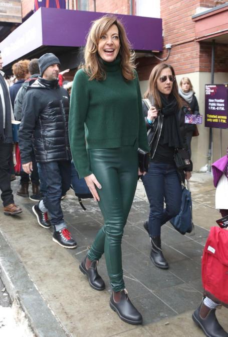 Allison Janney green leather leggings Sundance 2016