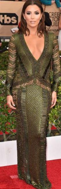 Eva Longoria in patchwork Julian MacDonald gown
