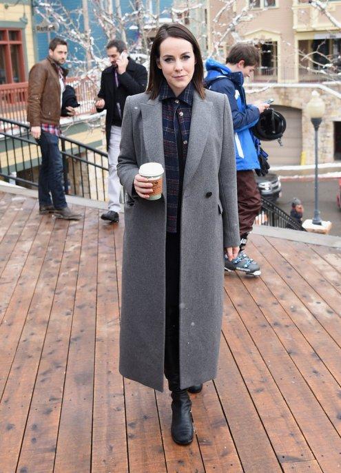 Jena Malone in long grey coat at Sundance 2016