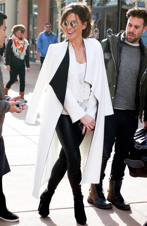 Kate Beckinsale white coat Sundance 2016