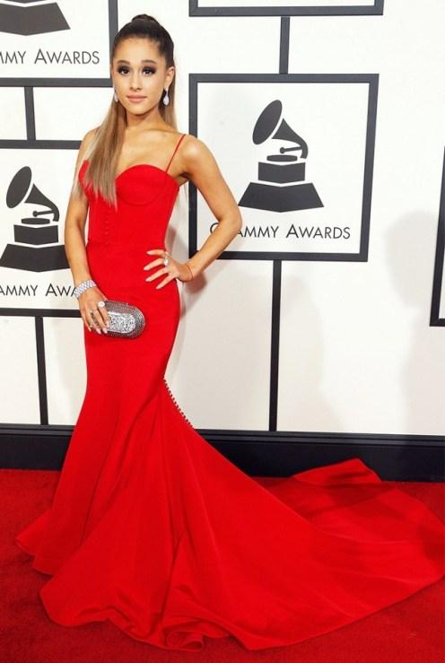 Ariana Grande Red Romona Keveza Gown Red Carpet